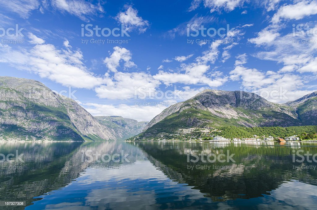 A mountain range with a beautiful sky and reflections  stock photo
