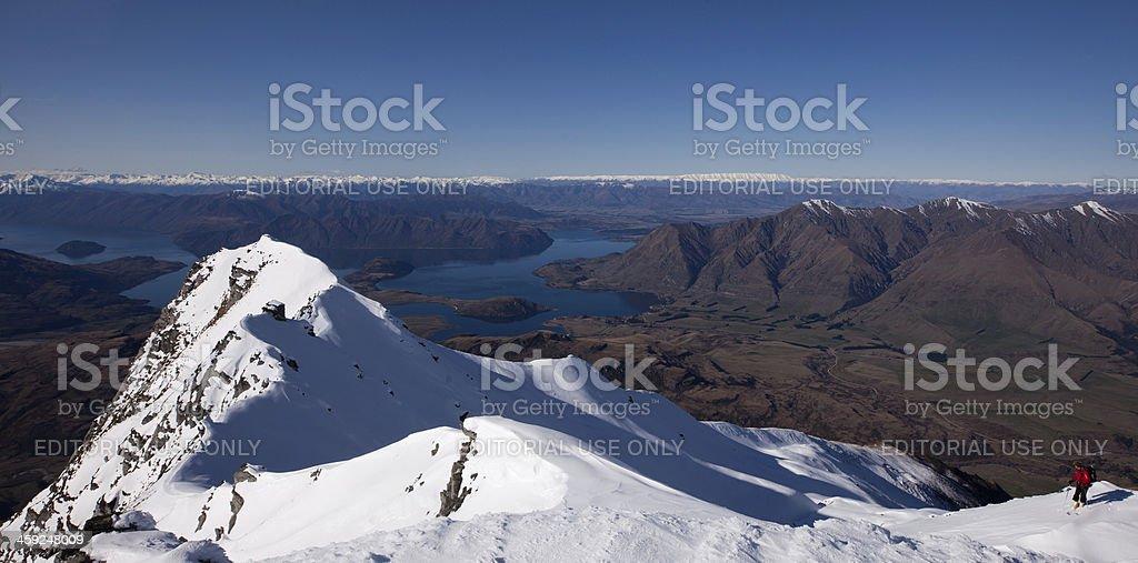 Mountain range with Lake Wanaka beyond, New Zealand stock photo