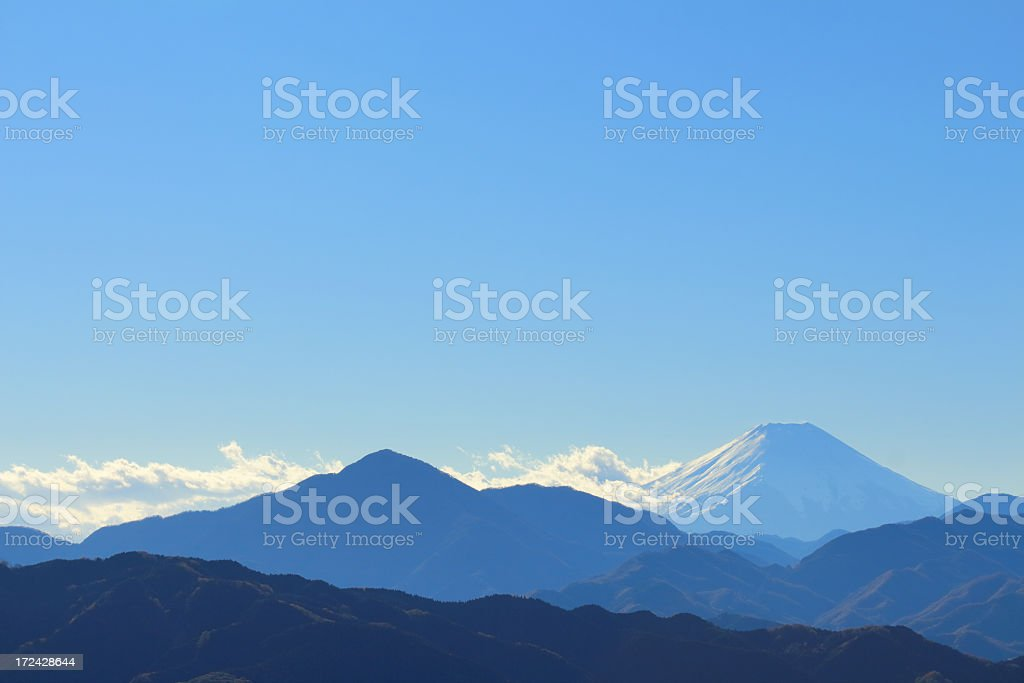 Mountain range with Mt. Fuji royalty-free stock photo