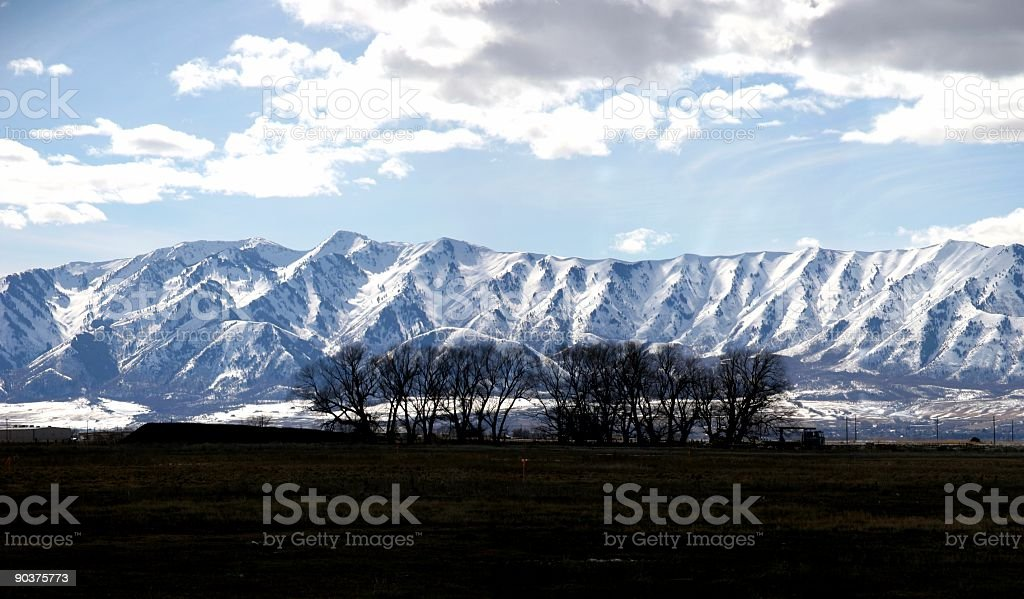 Mountain Range w/Trees stock photo
