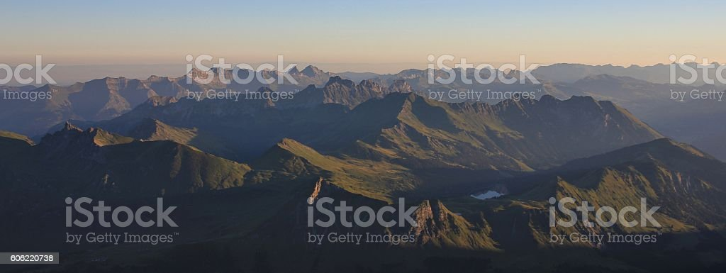 Mountain ranges in Vaud Canton, Swiss Alps stock photo
