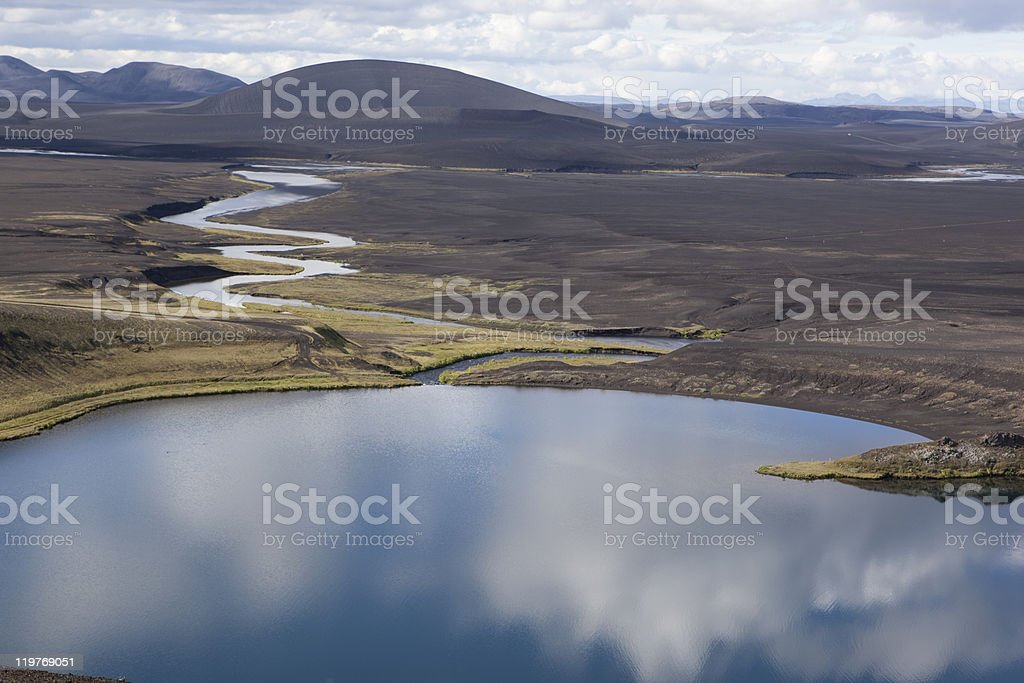 Mountain, reflction on water in Central Highlands @ Lake Veidivotn stock photo