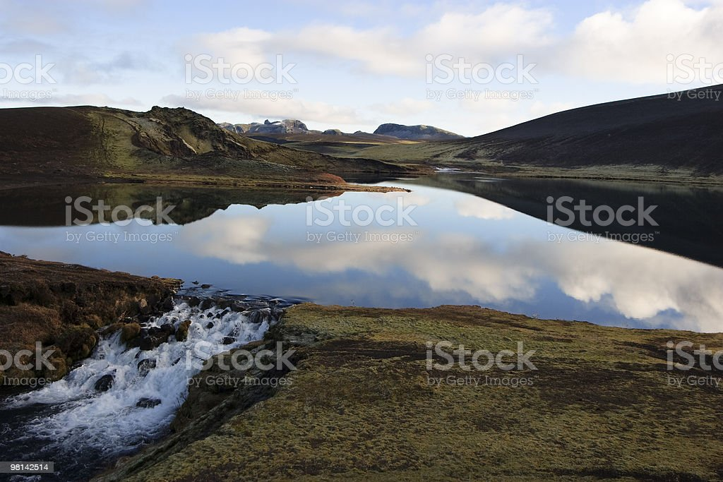 Mountain reflction on water in Iceland. Lake Veidivotn stock photo