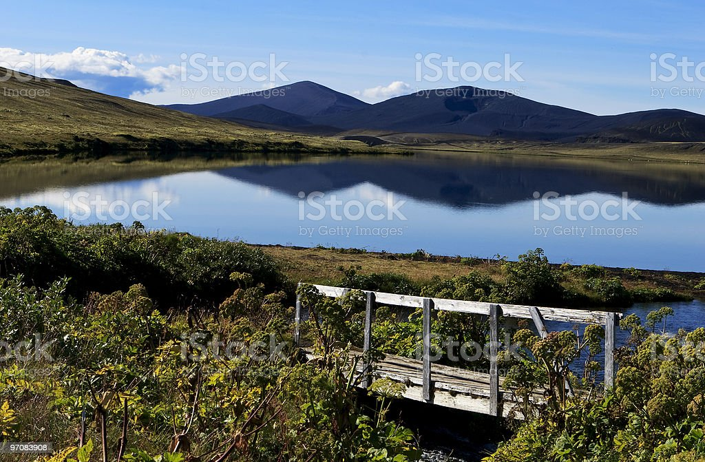Mountain reflction on water in Iceland royalty-free stock photo