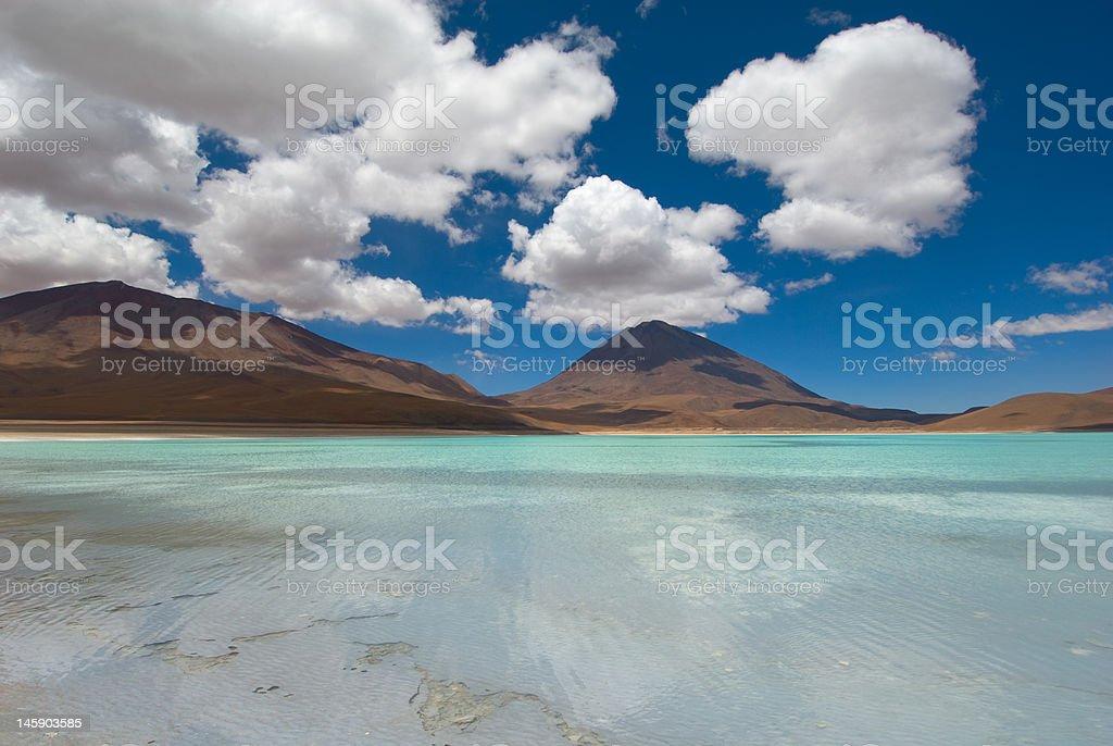 mountain, reflecting in the lake, laguna verde, bolivia royalty-free stock photo