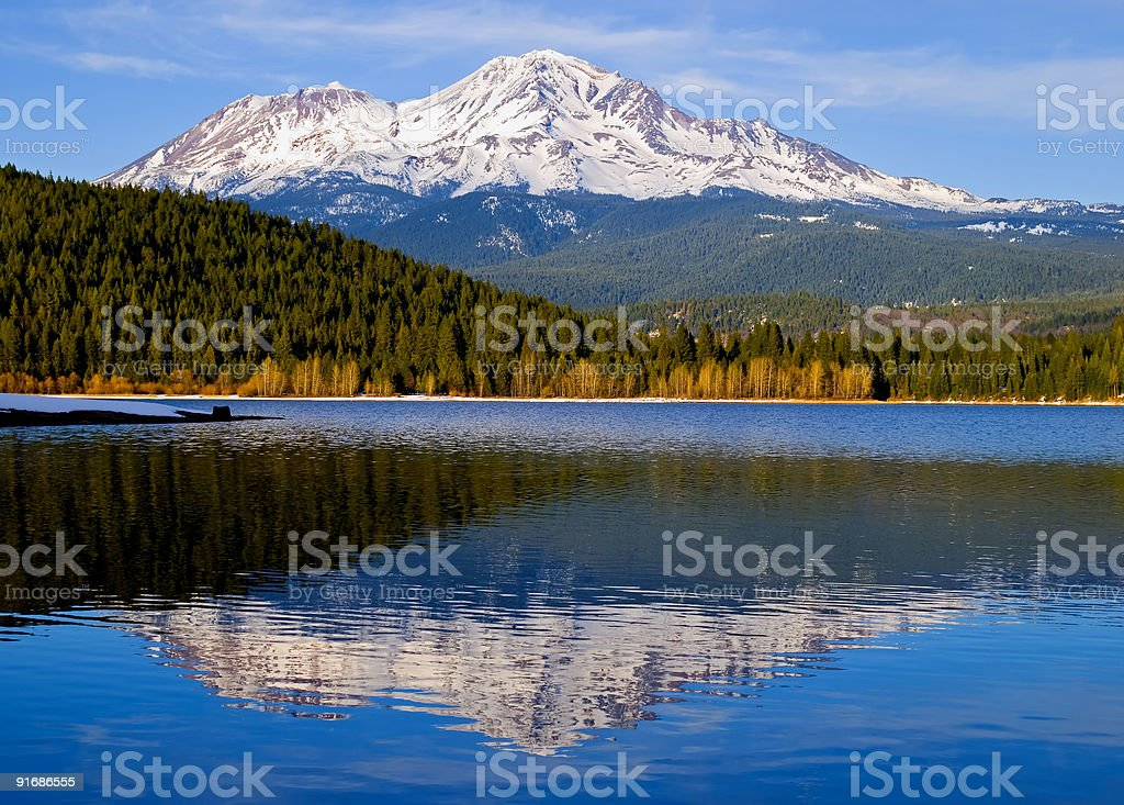 Mountain reflection in the lake stock photo