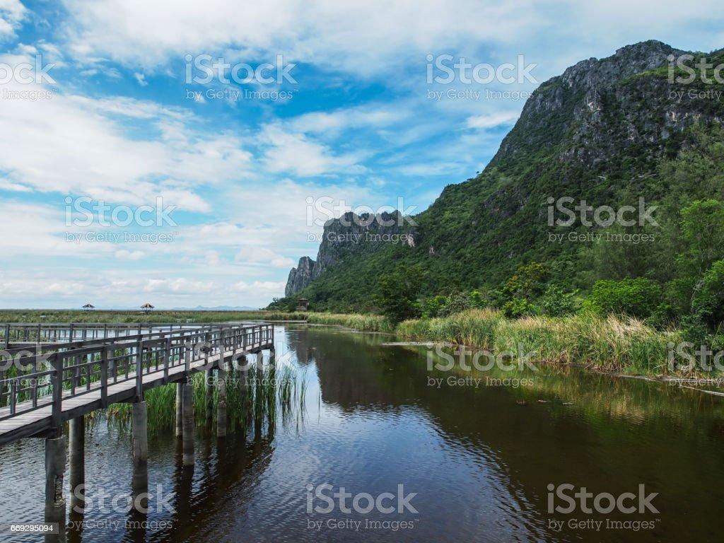 Mountain reflection, Khao Sam Roi Yot, Prachuap Khiri Khan, Thailand. stock photo