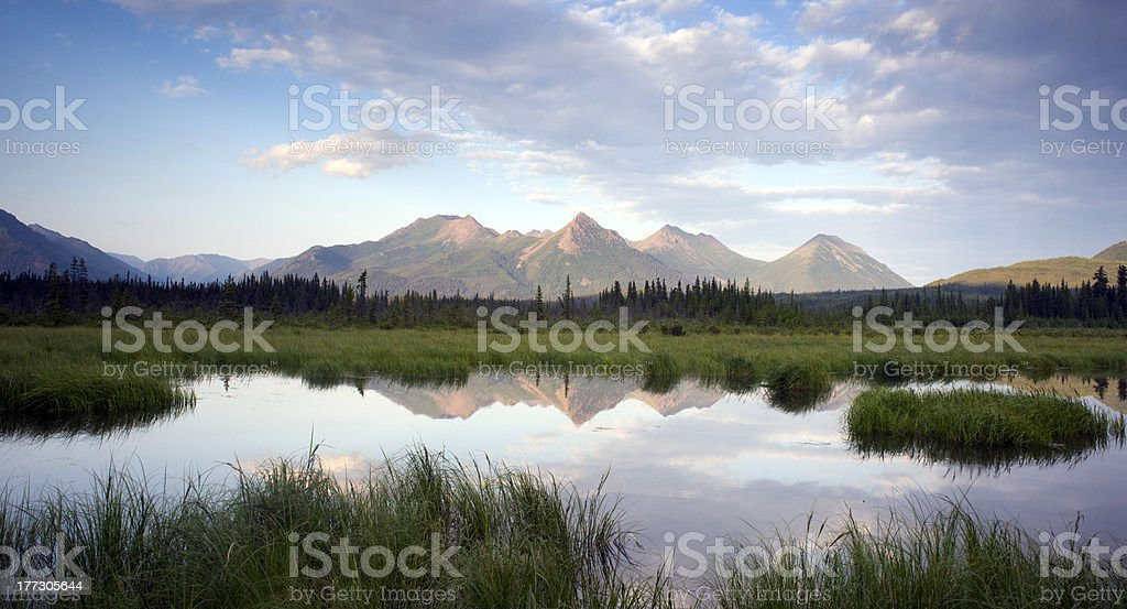 Mountain Reflection Lake Alaska Wilderness USA Outdoors North America stock photo