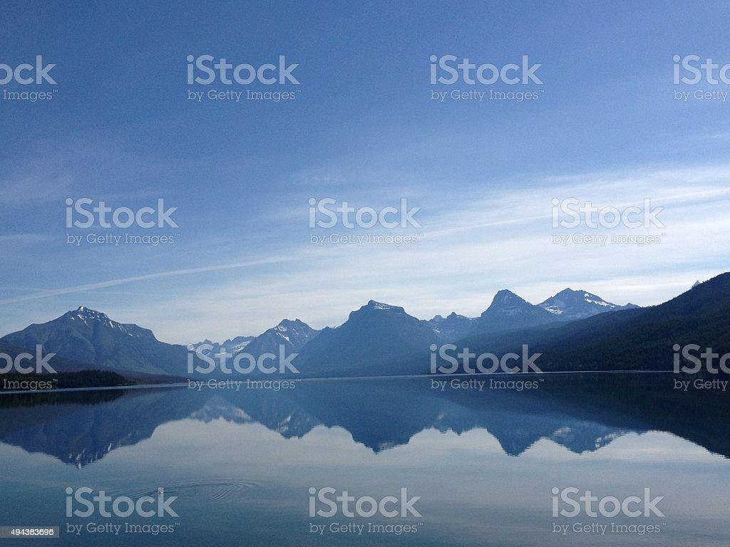 Mountain Reflection on Lake McDonald stock photo