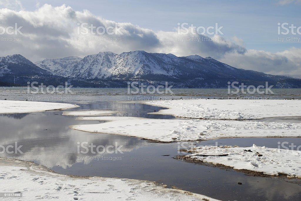 Mountain Reflection on Lake Tahoe royalty-free stock photo