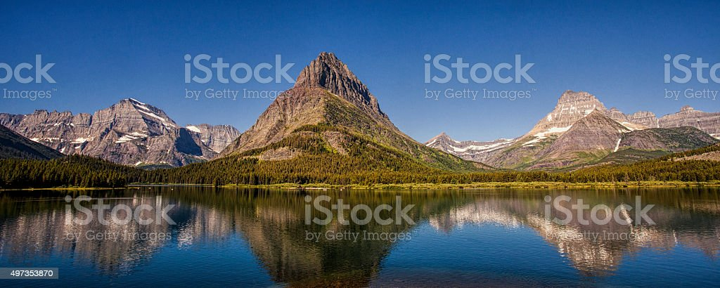 Mountain Reflection Panorama stock photo