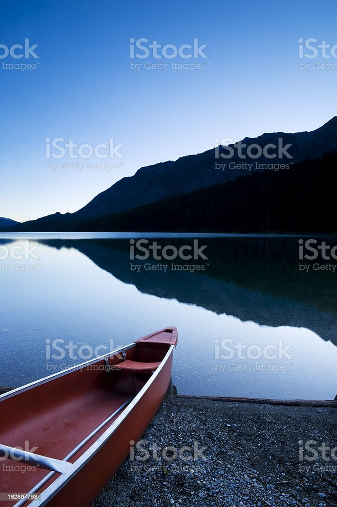 Mountain Reflections and Canoe royalty-free stock photo