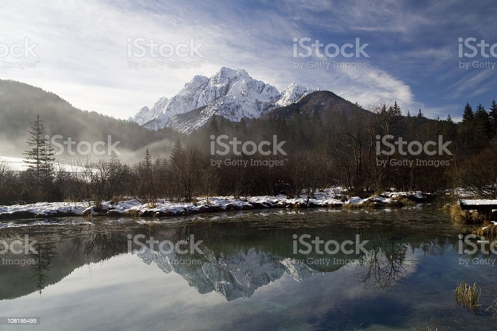 Mountain Reflections with Lake During Winter stock photo