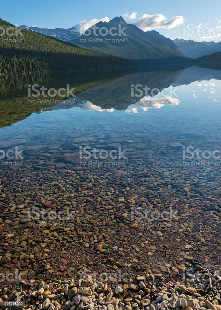 Mountain Reflects in the Mid Morning Light of Bowman Lake stock photo