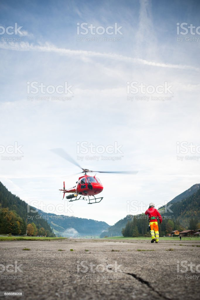 Mountain Rescue Helicopter Takes Off stock photo