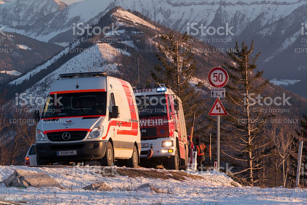 mountain rescue stock photo