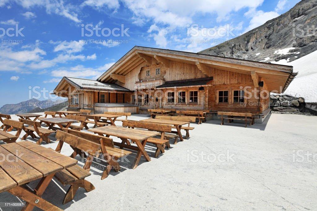 Mountain restaurant, Swiss Alps stock photo