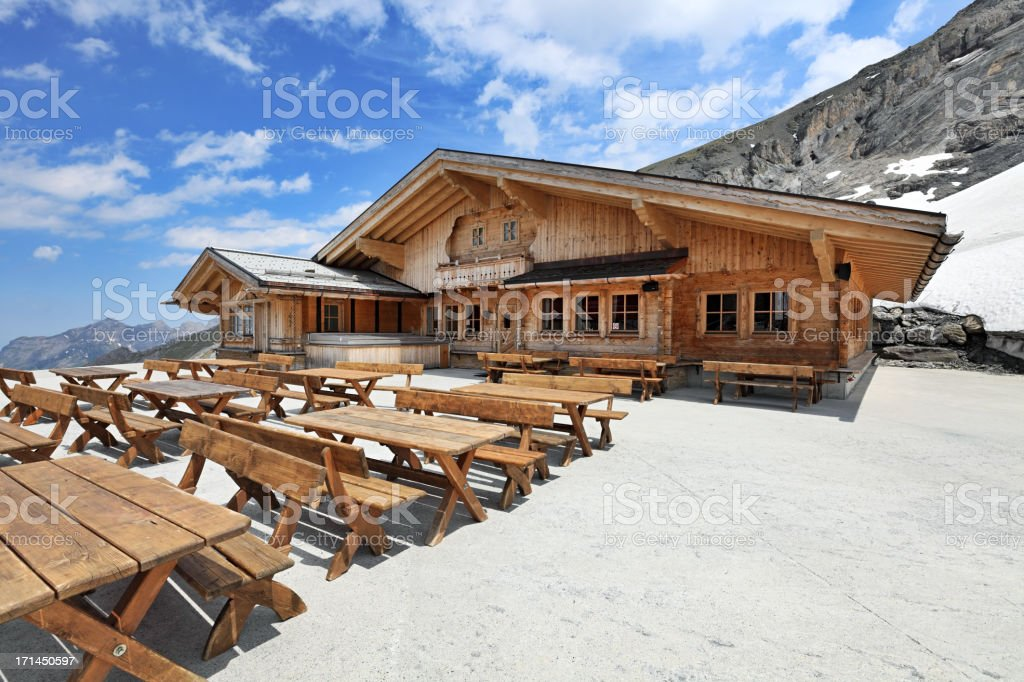 Mountain restaurant, Swiss Alps stock photo