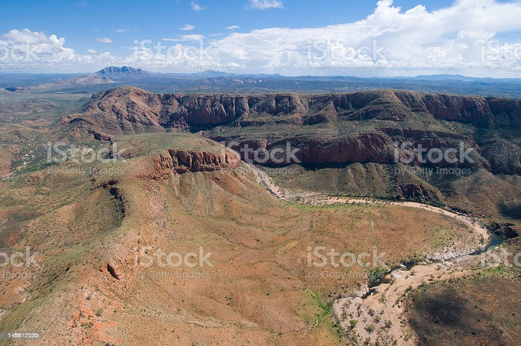 Mountain ridge and dry river valley, Australia stock photo