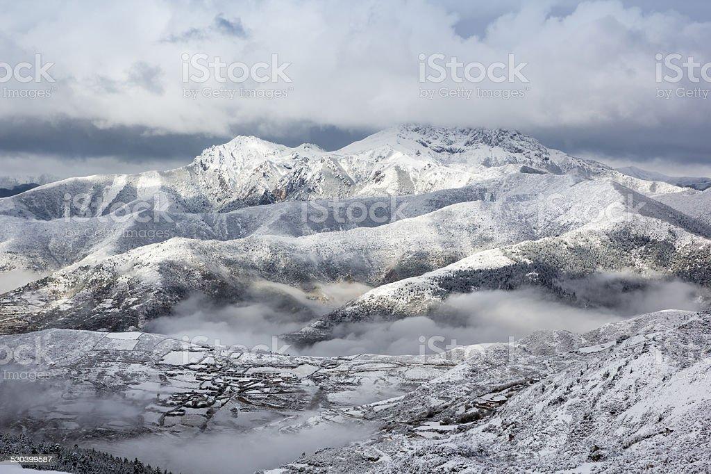 mountain ridge snow landscape stock photo