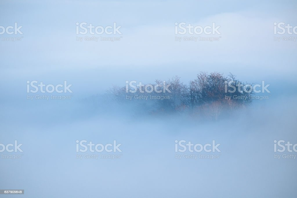 Mountain ridge with clouds flowing through the forest trees stock photo