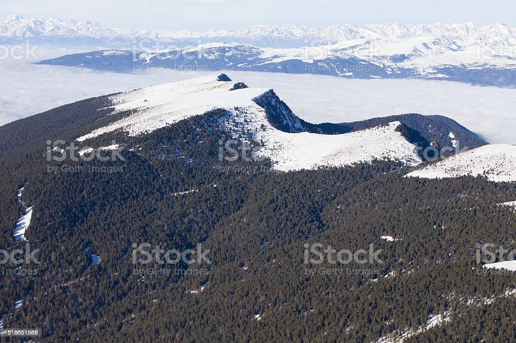 Mountain ridge with view to Austrian Alps, Dolomites, Italy stock photo