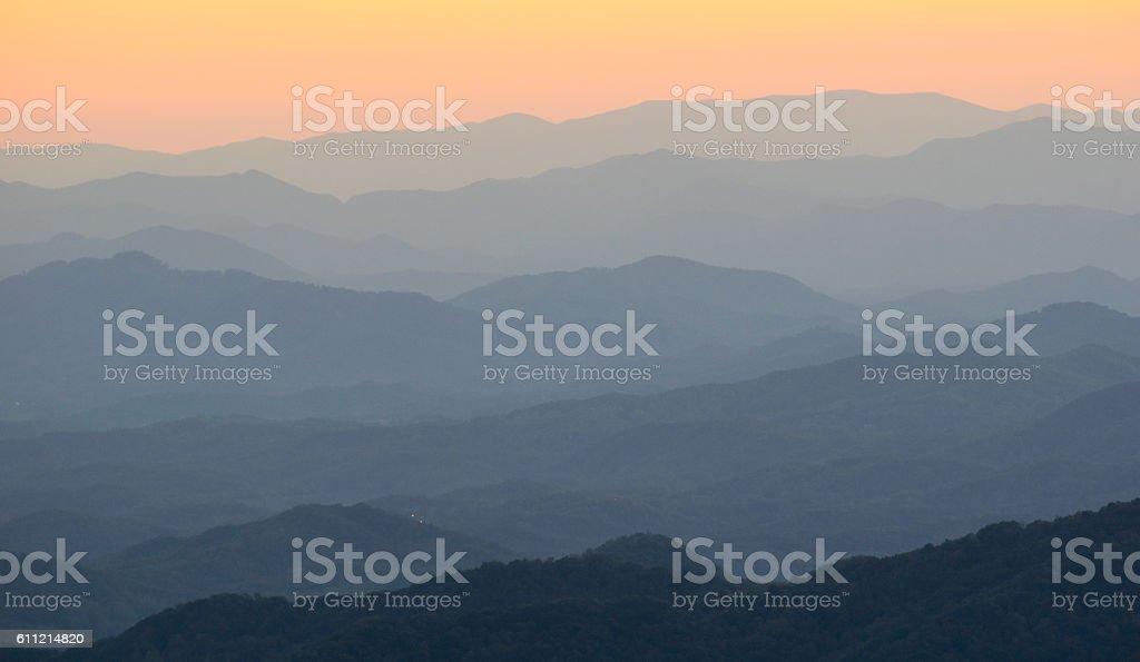 Mountain Ridges at Sunset stock photo