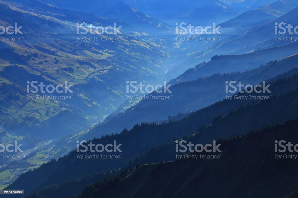 Mountain ridges in the Entschligental stock photo