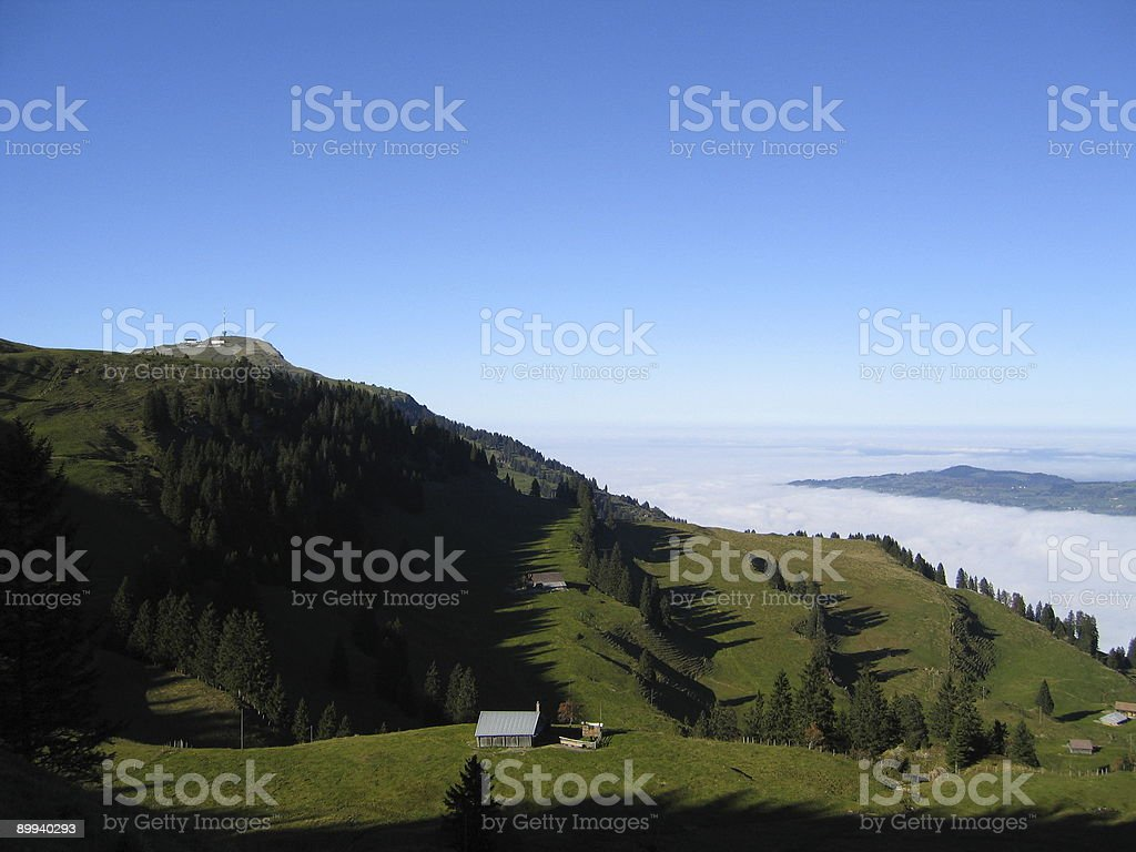 Mountain Rigi valley stock photo