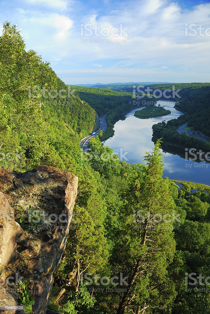 Mountain river aerial view stock photo