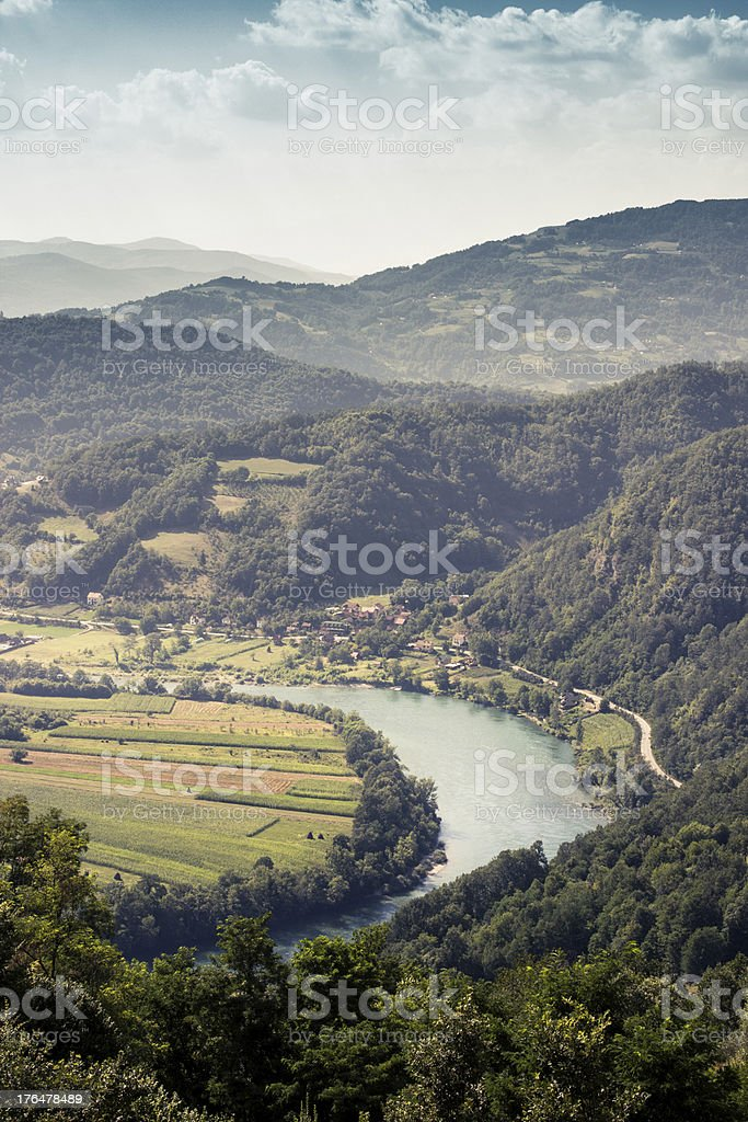 Mountain River and Village royalty-free stock photo