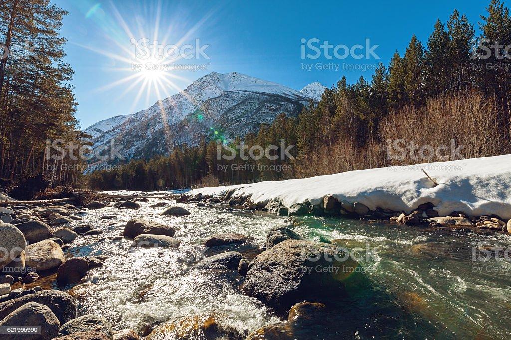 Mountain river Baksan at wintertime stock photo