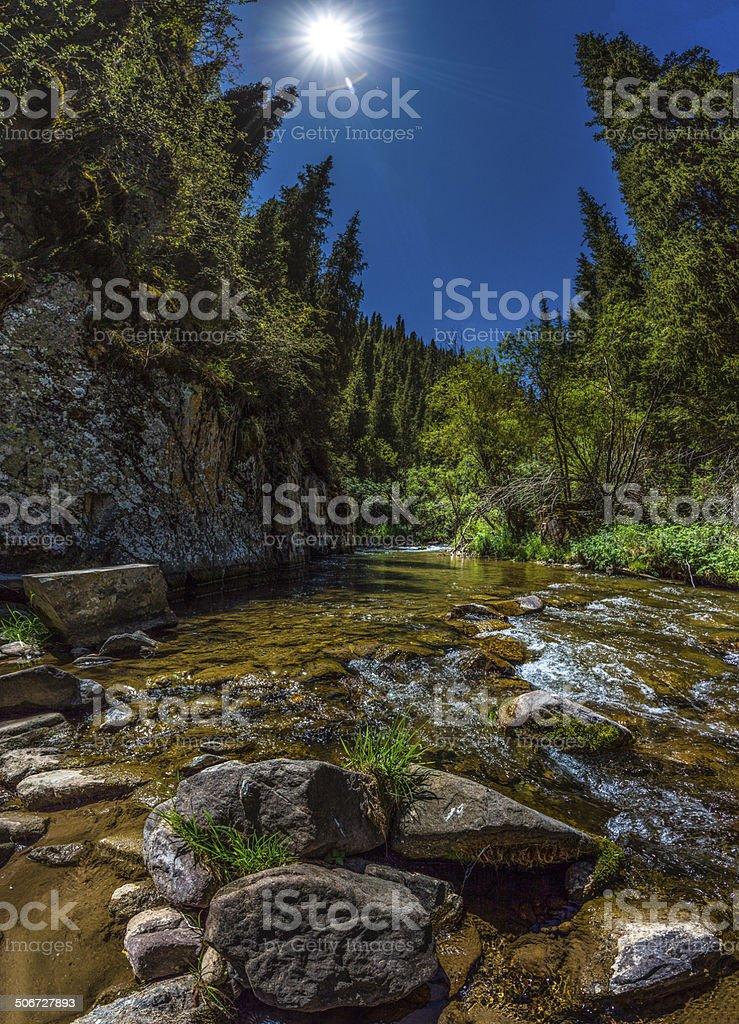 mountain river, beautiful scenery stock photo