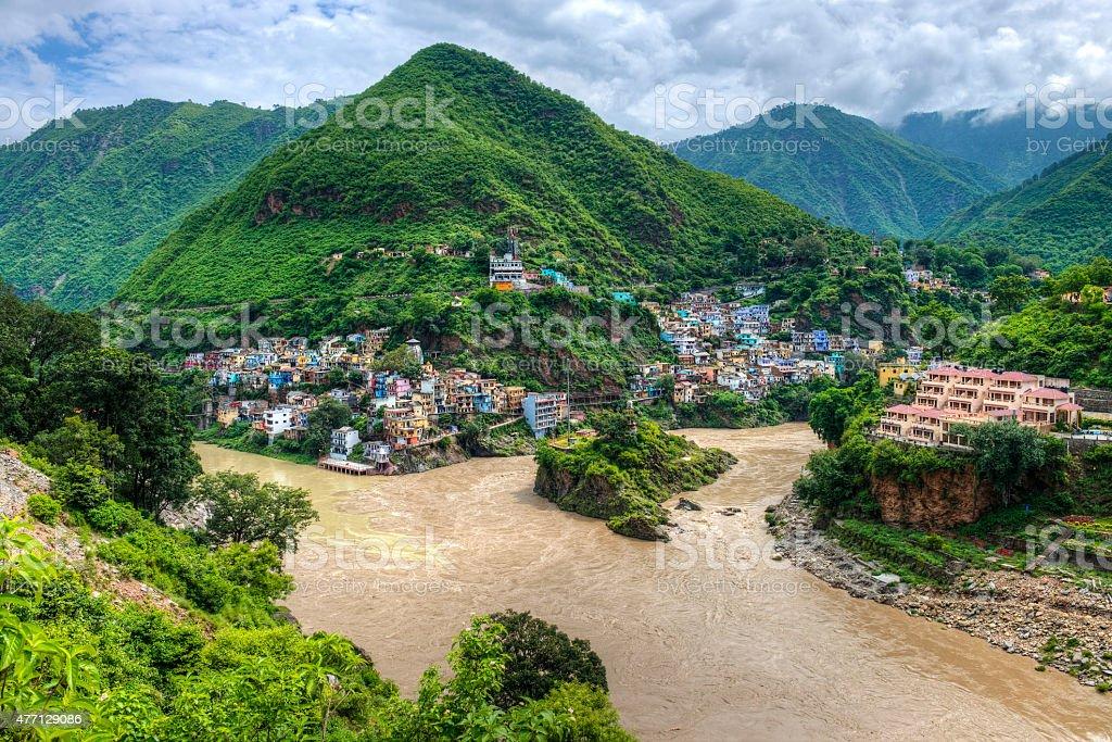 Mountain river confluence stock photo