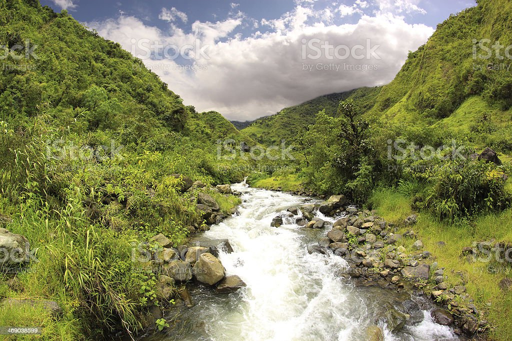 Mountain River, Ecuador stock photo