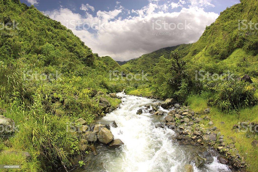 Mountain River, Ecuador stock photo