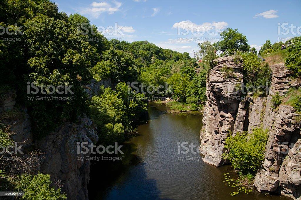 Mountain river flowing through the rocks royalty-free stock photo