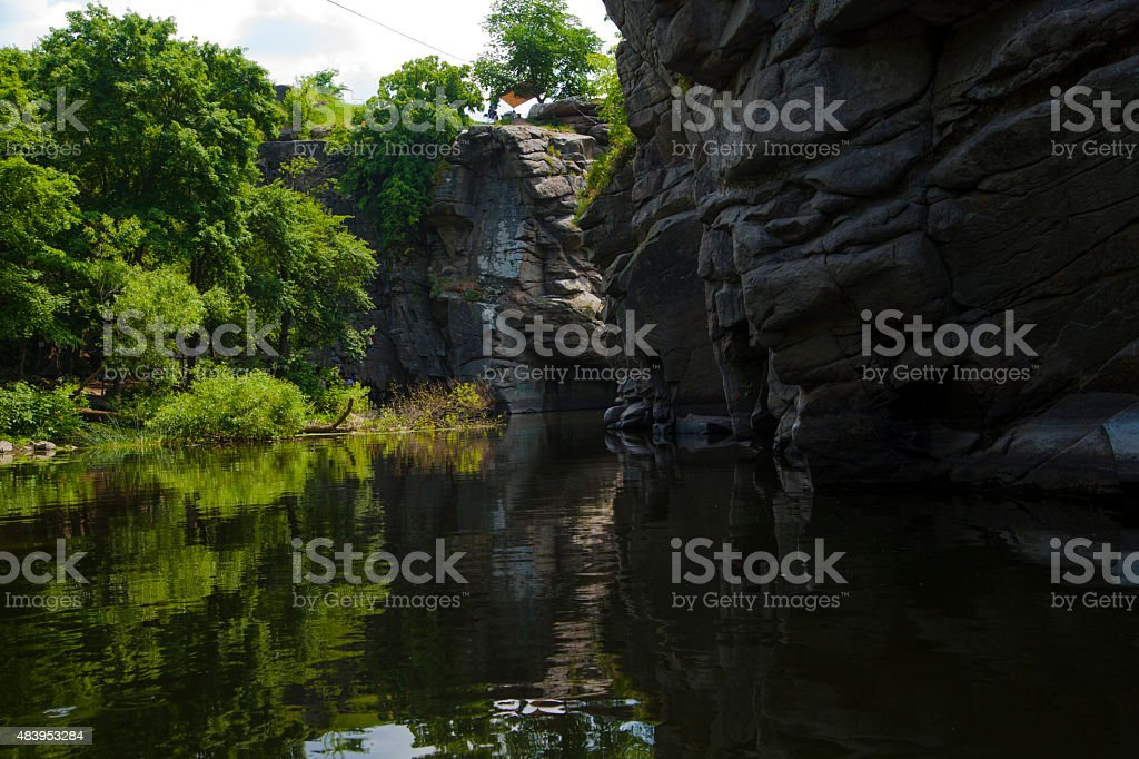 Mountain river flowing through the rocks royalty-free stock photo
