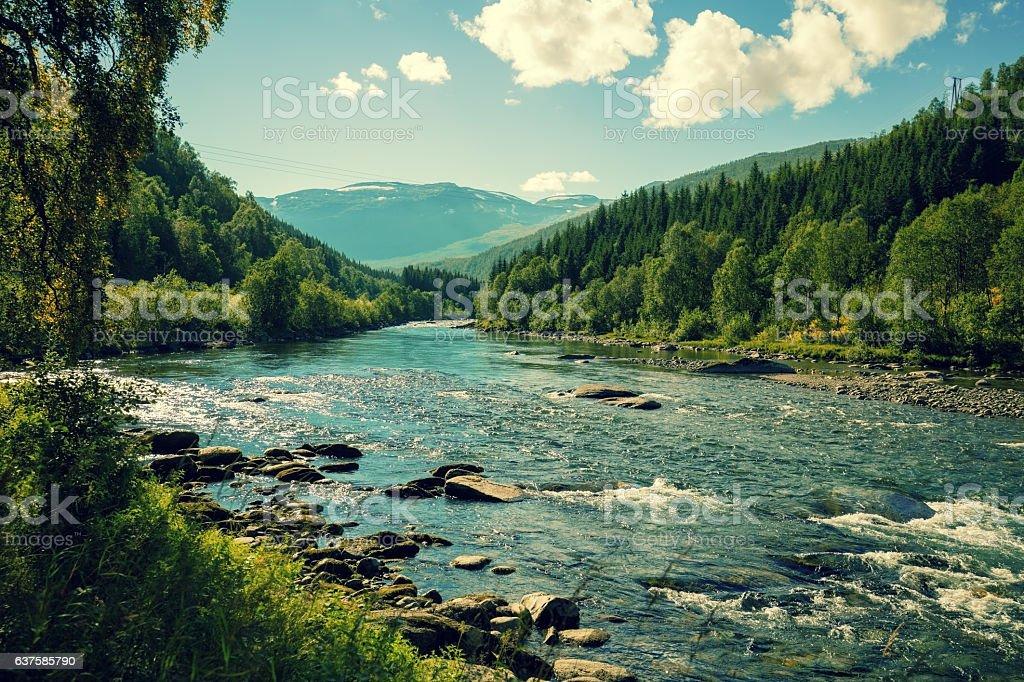 Mountain river in autumn. Norway stock photo