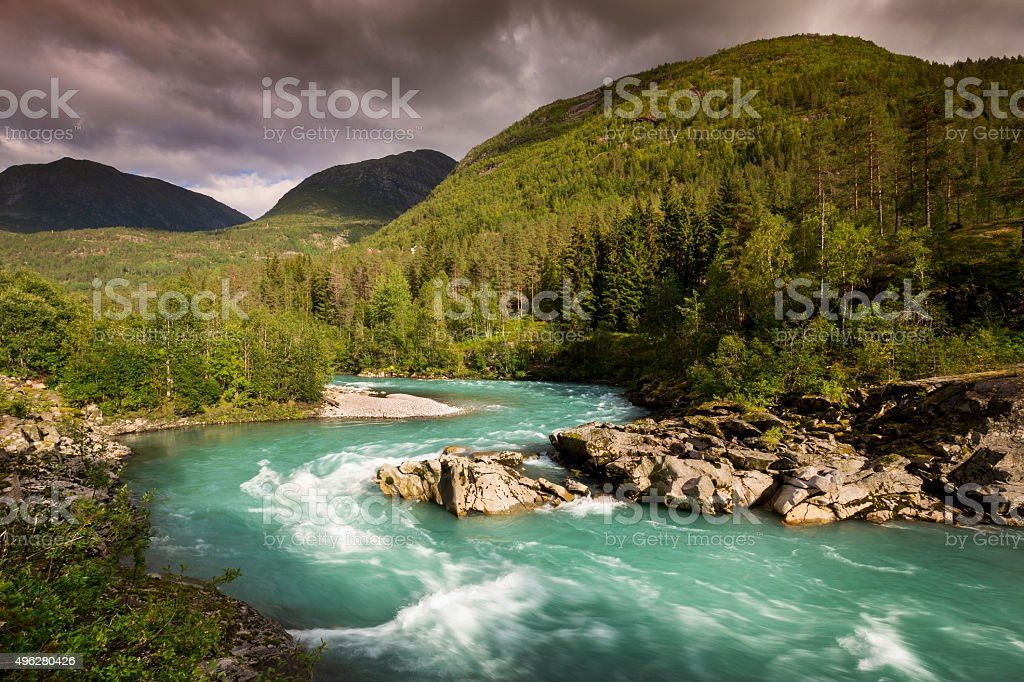 Mountain river in Norway stock photo