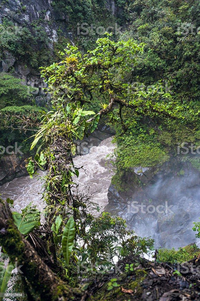Mountain river in the Andes. Banos. Ecuador stock photo