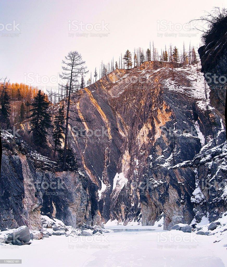 mountain river in winter. Siberia. Altai. Russia royalty-free stock photo