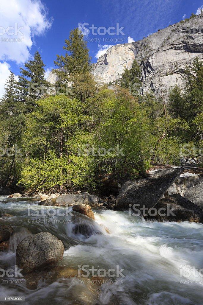 Mountain river in Yosemite National Park, California stock photo