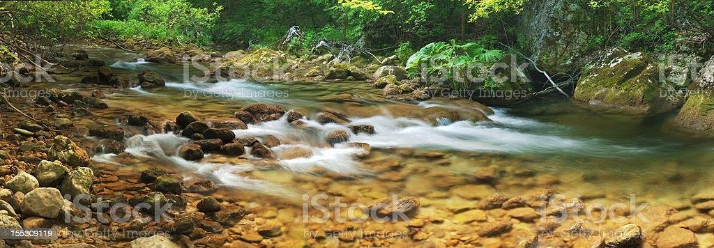 Mountain river (panorama) royalty-free stock photo
