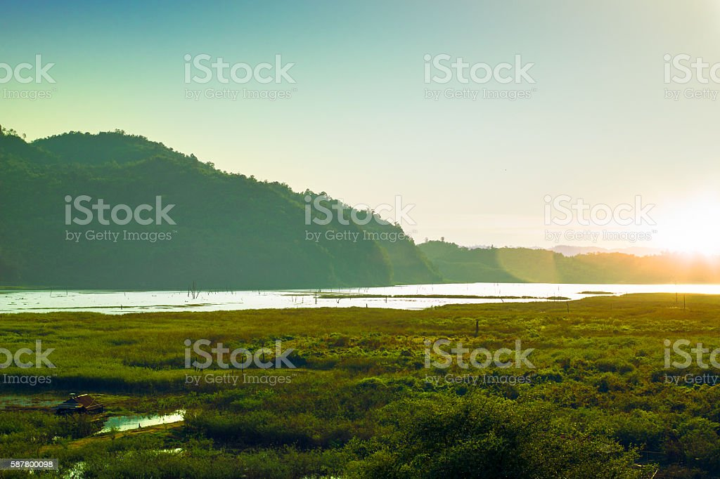 Mountain river sunset at Thailand stock photo
