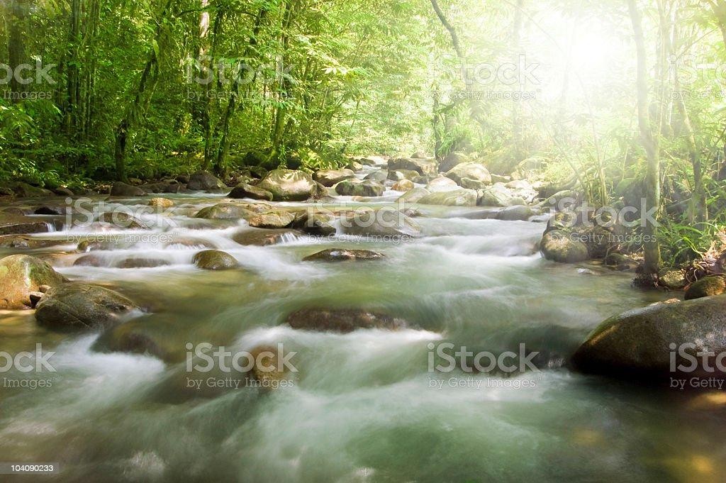 A mountain river with boulders and pebbles royalty-free stock photo