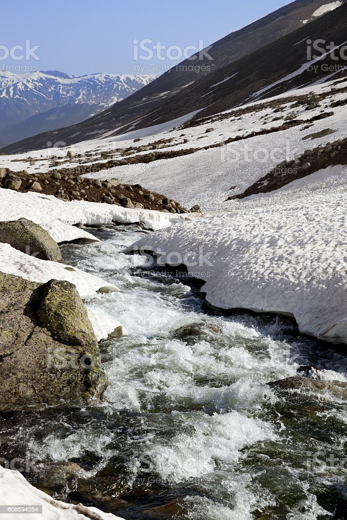 Mountain river with snow bridges in spring sun day stock photo