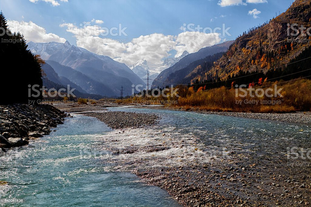 mountain rivers of the Caucasus. stock photo