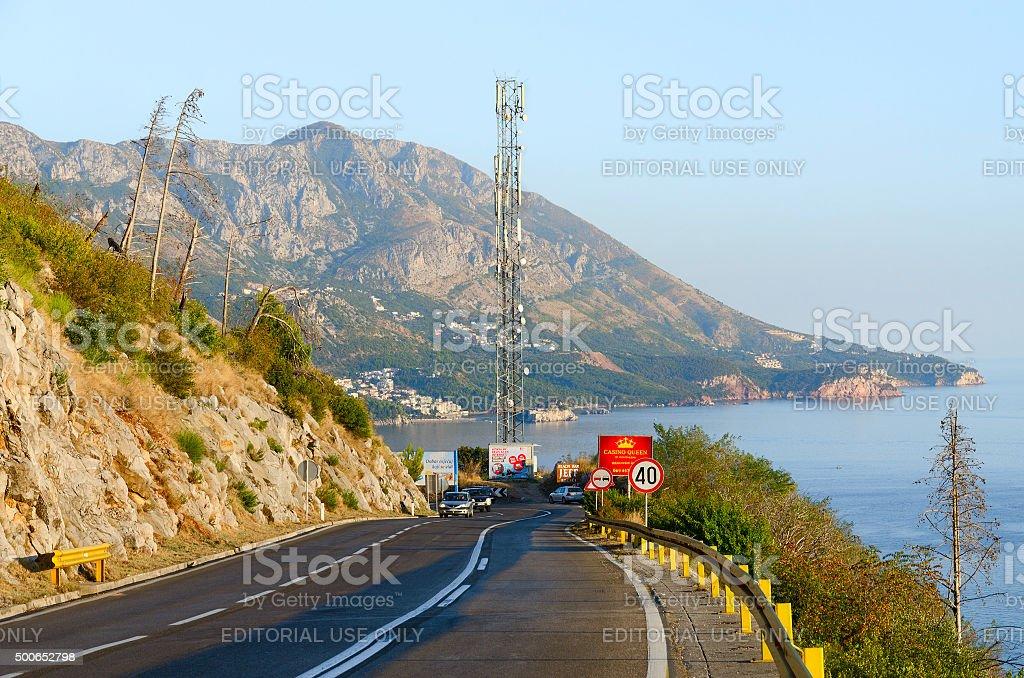 Mountain road above the coast of Budva, Montenegro stock photo