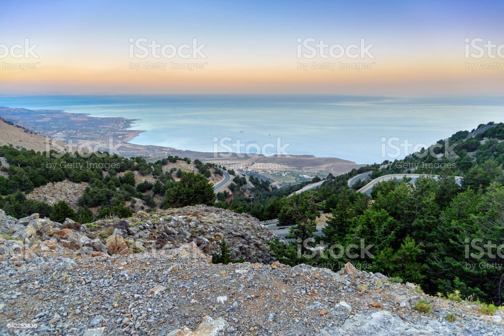 Mountain road at eastern coast of Crete island, Greece stock photo